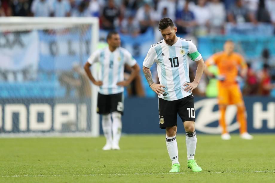 O atacante argentino Lionel Messi durante partida contra a França, válida pelas oitavas de final da Copa do Mundo em Kazan - 30/06/2018