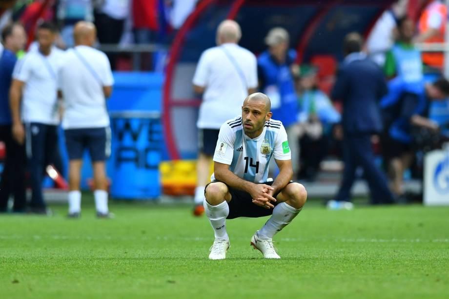 Javier Mascherano reage após derrota para a França e eliminação da seleção da Argentina nas oitavas de final da Copa do Mundo - 30/06/2018