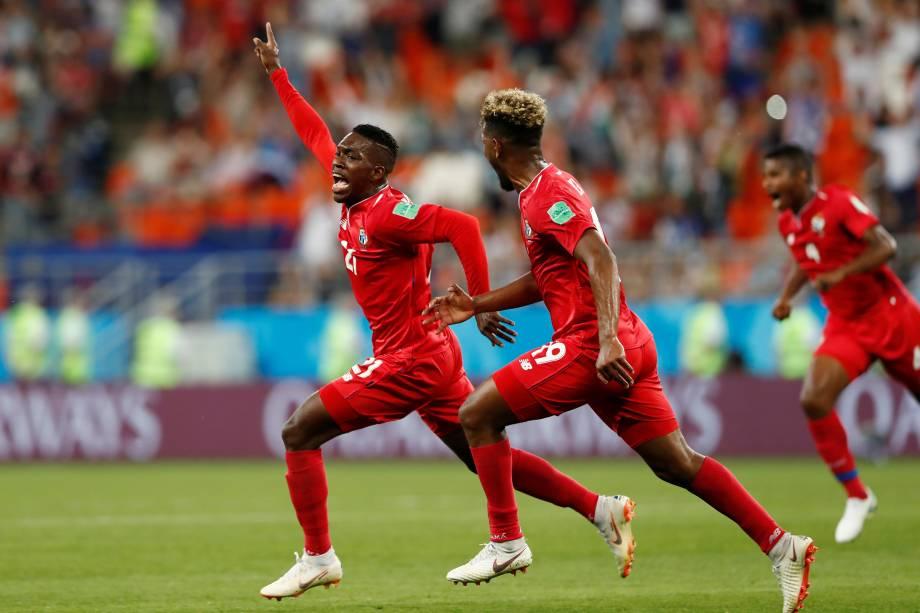 Jose Luis Rodriguez comemora o gol do Panamá na partida contra a Tunísia na arena Mordovia, em Saransk - 28/06/2018