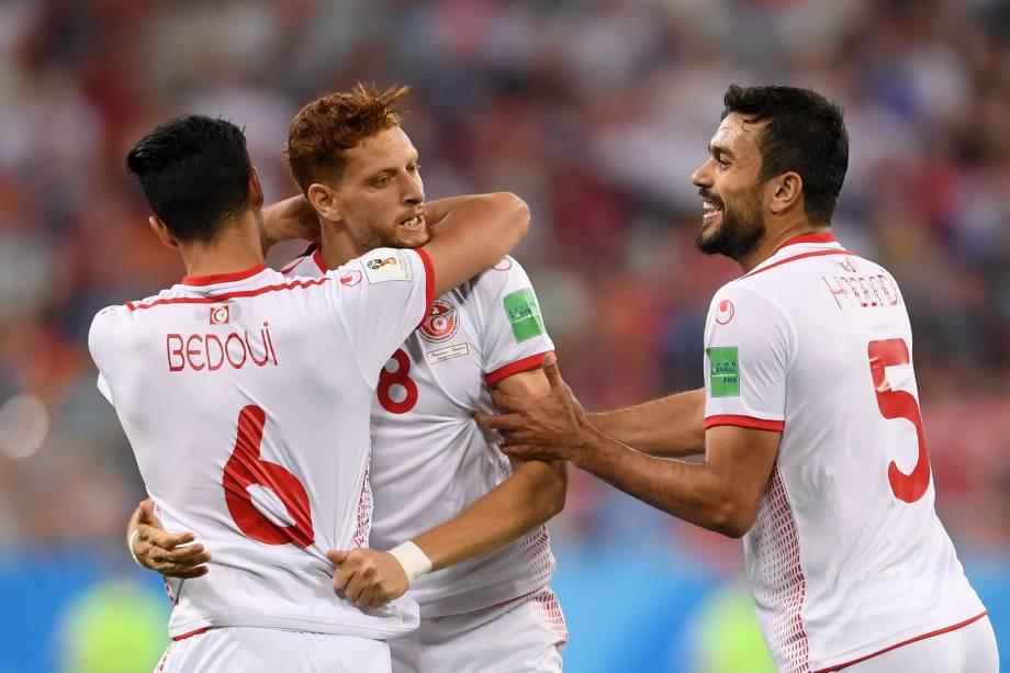 Fakhreddine Ben Youssef da Tunísia comemora o gol de empate na partida contra o Panamá na arema Mordovia, em Saransk - 28/06/2018