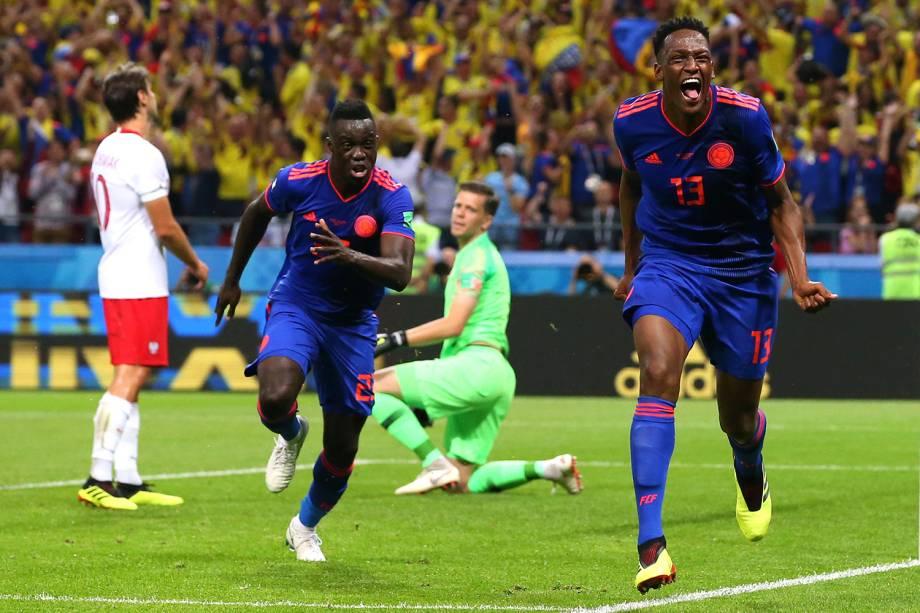 Yerry Mina, da Colômbia, comemora o gol marcado na partida contra a Polônia, pelo confronto do grupo H, na Arena Kazan - 24/06/2018