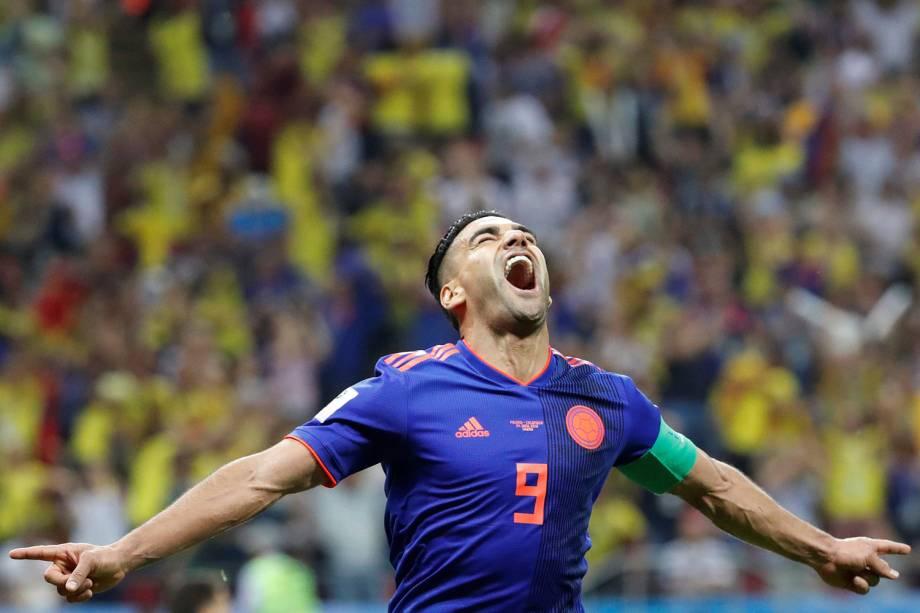 O colombiano, Radamel Falcao, comemora o segundo gol da partida contra a Polônia na Arena Kazan - 24/06/2018