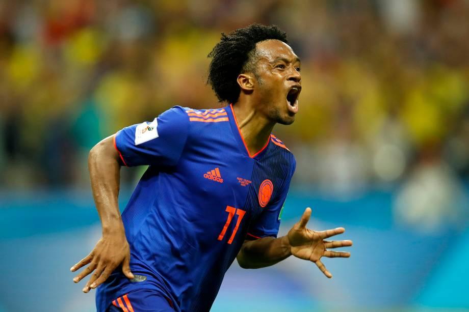 Juan Cuadrado, da Colômbia, comemora o terceiro gol marcado contra a Polônia pela partida do grupo H, na arena Kazan - 24/06/2018