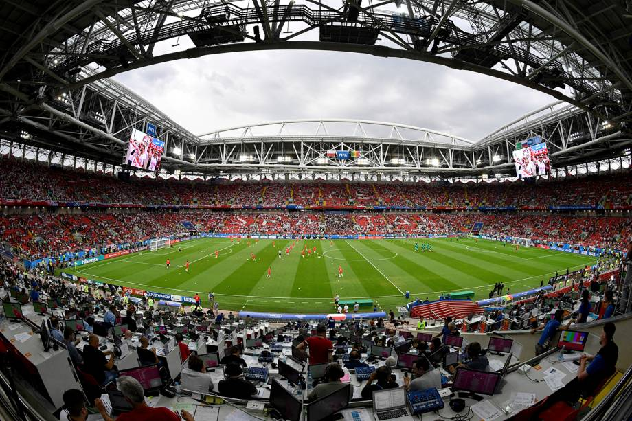 Vista geral do estádio Spartak, que recebe a partida entre Polônia e Senegal, pelo Grupo H