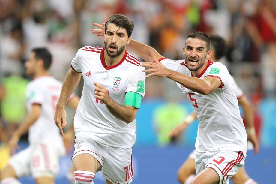 Karim Ansarifard comemora após empatar o placar para o Irã, durante partida contra Portugal - 25/06/2018
