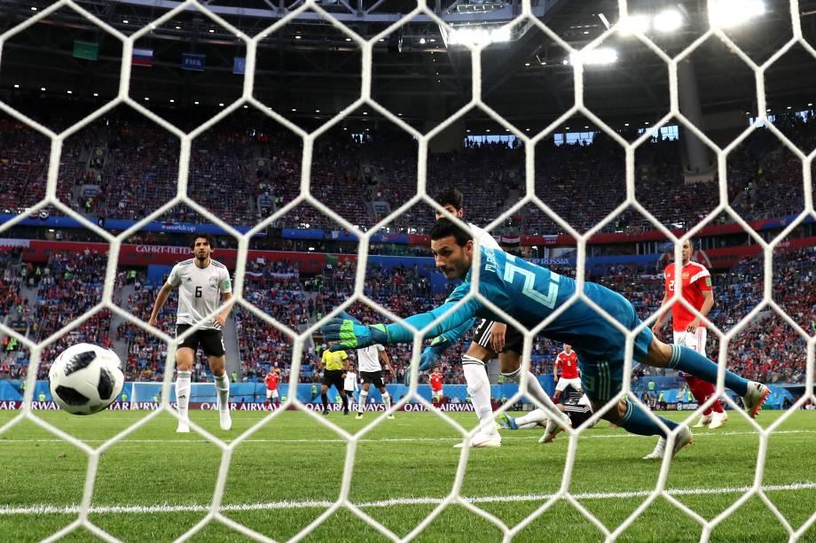 Fathi marcar gol contra durante partida entre Rússia e Egito, válida pelo grupo A da Copa do Mundo da Rússia - 19/06/2018
