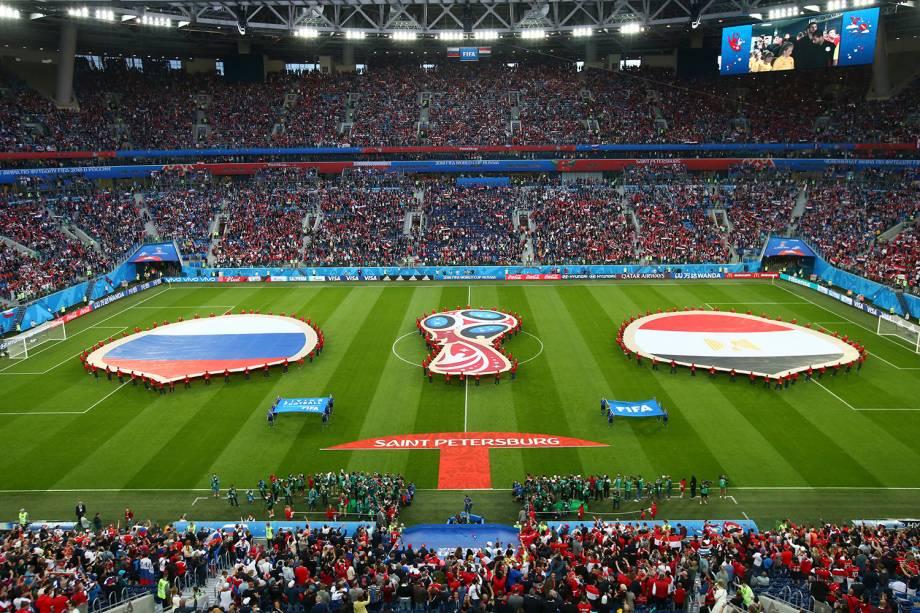 Estádio São Petersburgo recebe o primeiro jogo da segunda fase de grupos da Copa do Mundo 2018, entre Rússia e Egito