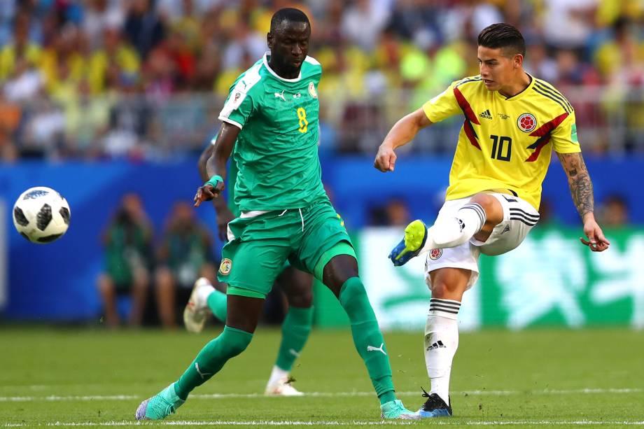 James Rodriguez da Colômbia durante passe de bola em partida contra o Senegal - 28/06/2018