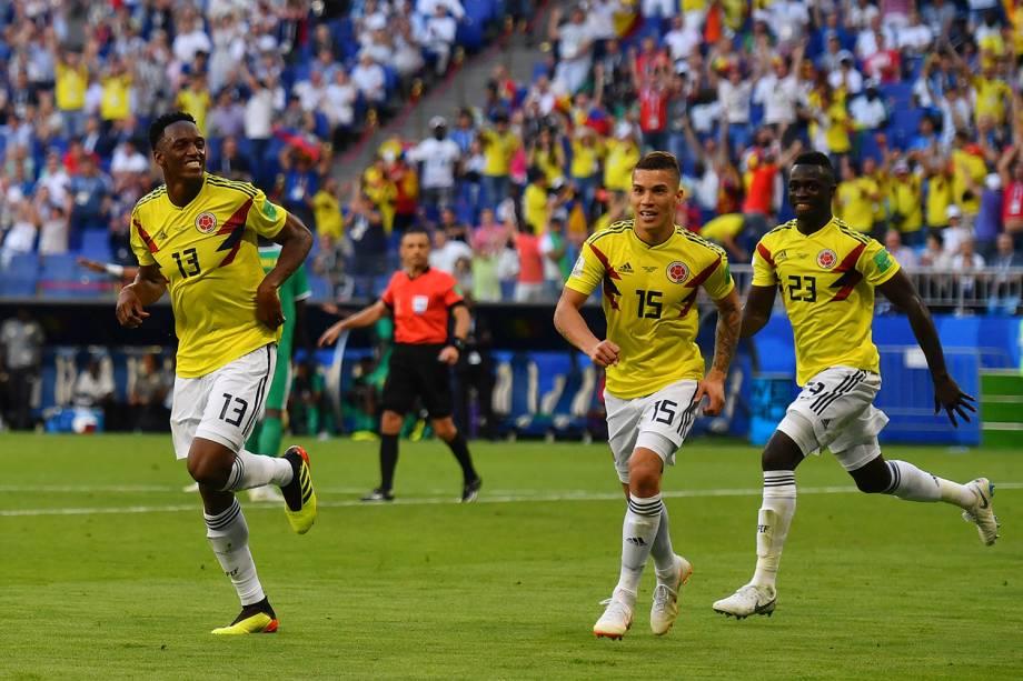 Yerry Mina marca primeiro gol da partida contra o Senegal na Arena Samara - 28/06/2018