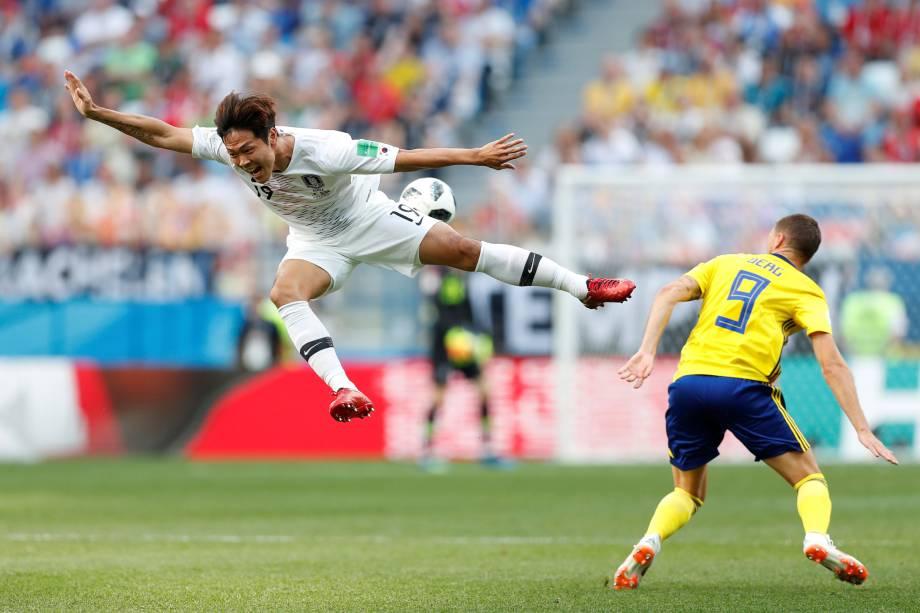 Kim Young-gwon, da Coreia do Sul, na partida contra a Suécia no estádio Níjni Novgorod - 18/06/2018