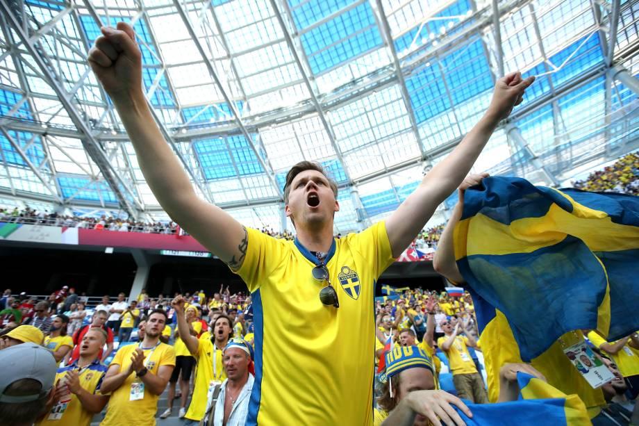 Torcedor sueco durante a partida contra a Suécia válida pelo Grupo F