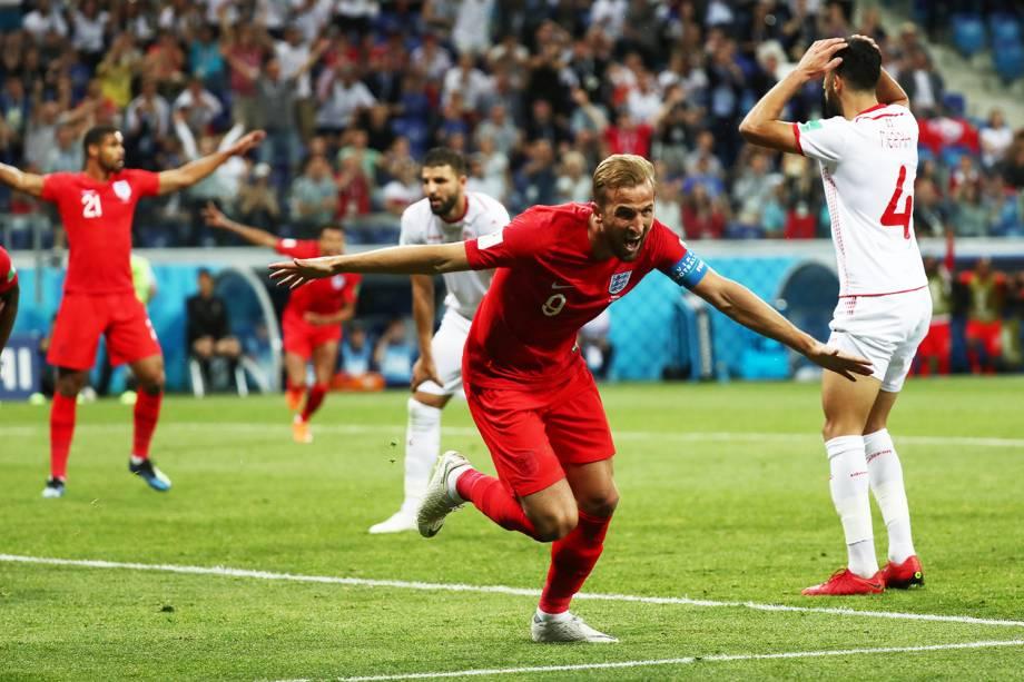Harry Kane, da Inglaterra, comemora após marcar gol contra a Tunísia, em partida válida pelo grupo G da Copa do Mundo - 18/06/2018