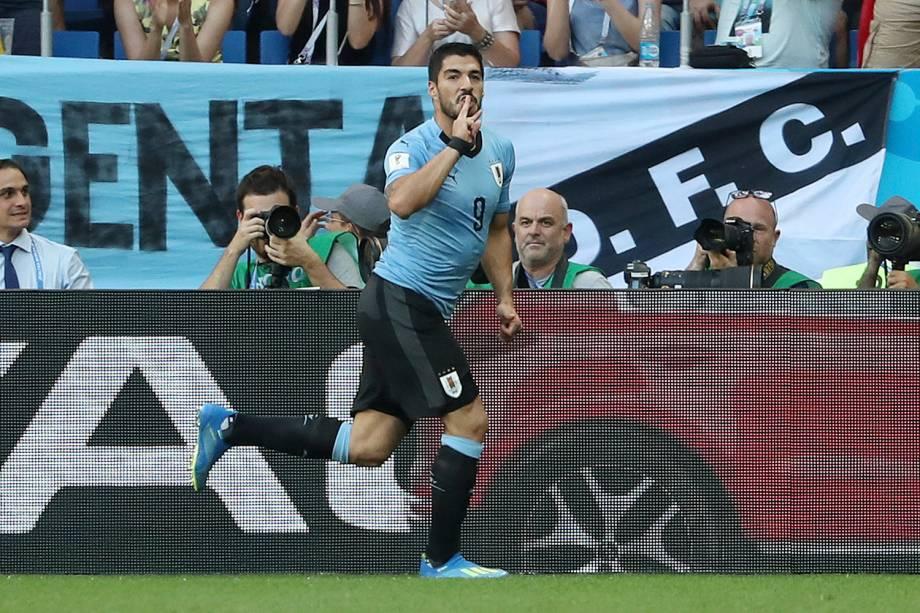 Luis Suarez, do Uruguai, comemora o gol marcado contra a Arábia Saudita no estádio Rostov Arena