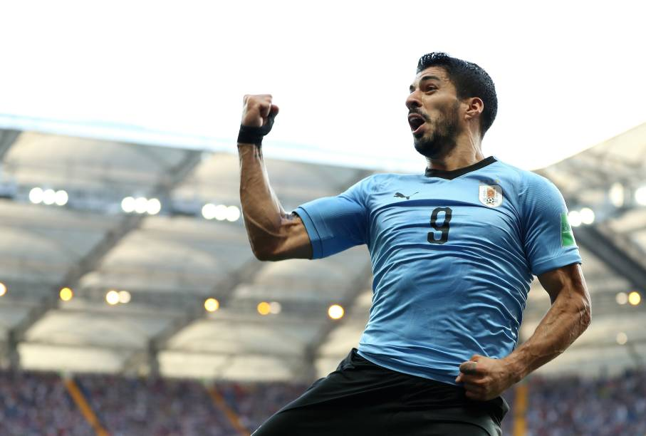 O atacanta Luís Suárez comemora o gol da vitória do Uruguai sobre a Arábia Saudita, em Rostov - 20/06/2018