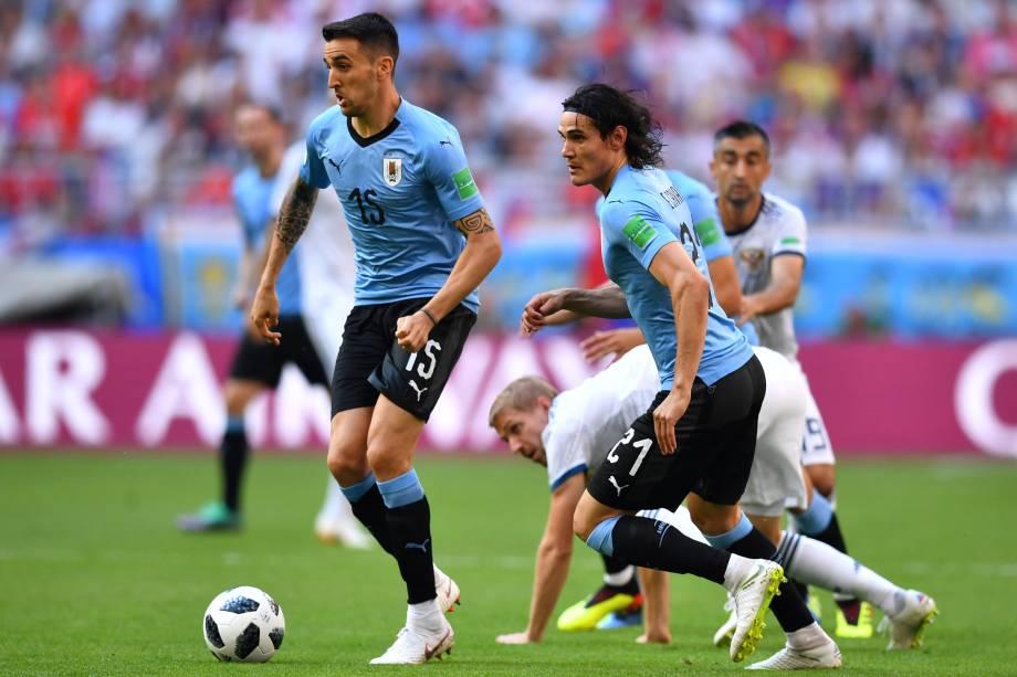 Matias Vecino e Edinson Cavani do Uruguai em ação na partida contra a Rússia, válida pela terceira rodada do grupo A na arena Samara - 25/06/2018