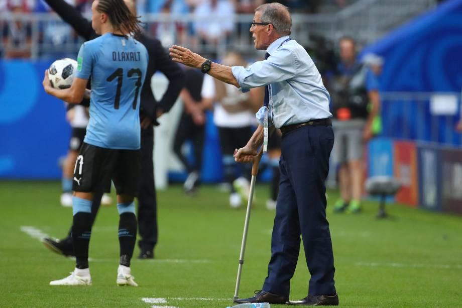 O treinador Óscar Tabárez do Uruguai na partida contra a Rússia, válida pela terceira rodada do grupo A na arena Samara - 25/06/2018