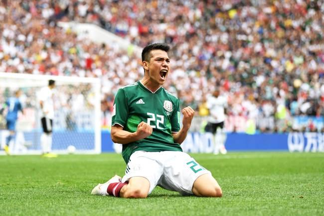 Hirving Lozano comemora após marcar gol para o México, durante partida contra a Alemanha, válida pela primeira rodada do grupo F da Copa do Mundo, realizada no Estádio Luzhniki, em Moscou - 17/06/2018