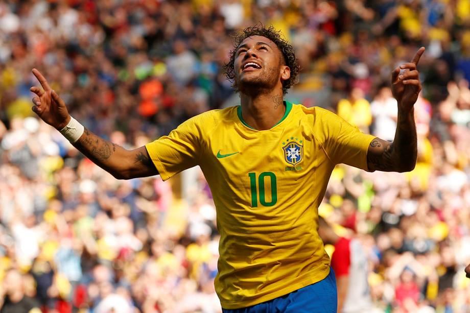 Neymar comemora seu primeiro gol em amistoso contra a Croácia - 03/06/2018