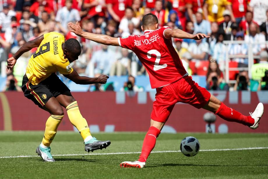 Romelu Lukaku da Bélgica marca segundo gol em partida contra a Tunísia - 23/06/2018