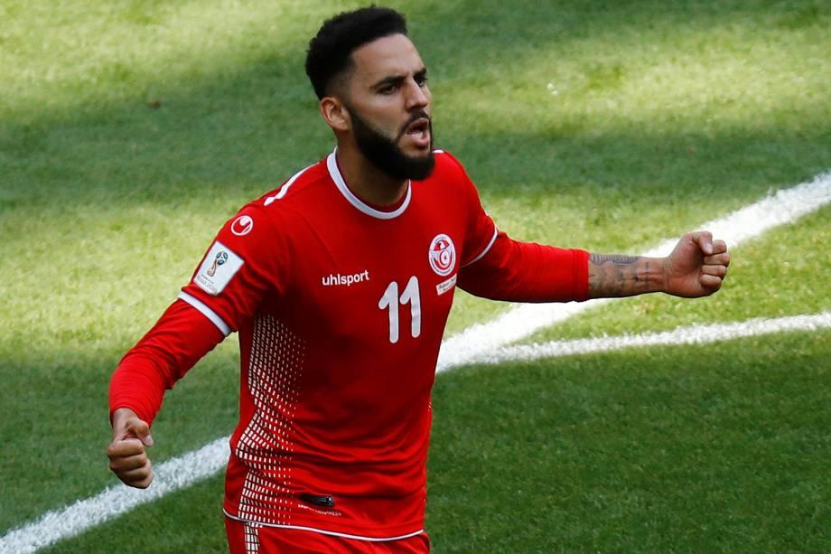 Dylan Bronn da Tunísia comemora seu primeiro gol na partida contra a Bélgica - 23/06/2018