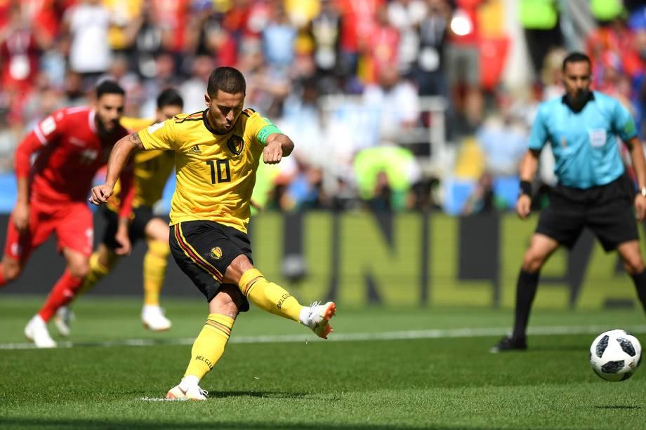 Eden Hazard da Bélgica marca primeiro gol da partida contra a Tunísia no Estádio Spartak - 23/06/2018