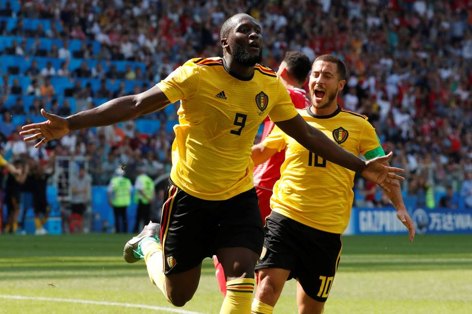 Romelu Lukaku da Bélgica comemora segundo gol com Eden Hazard - 23/06/2018