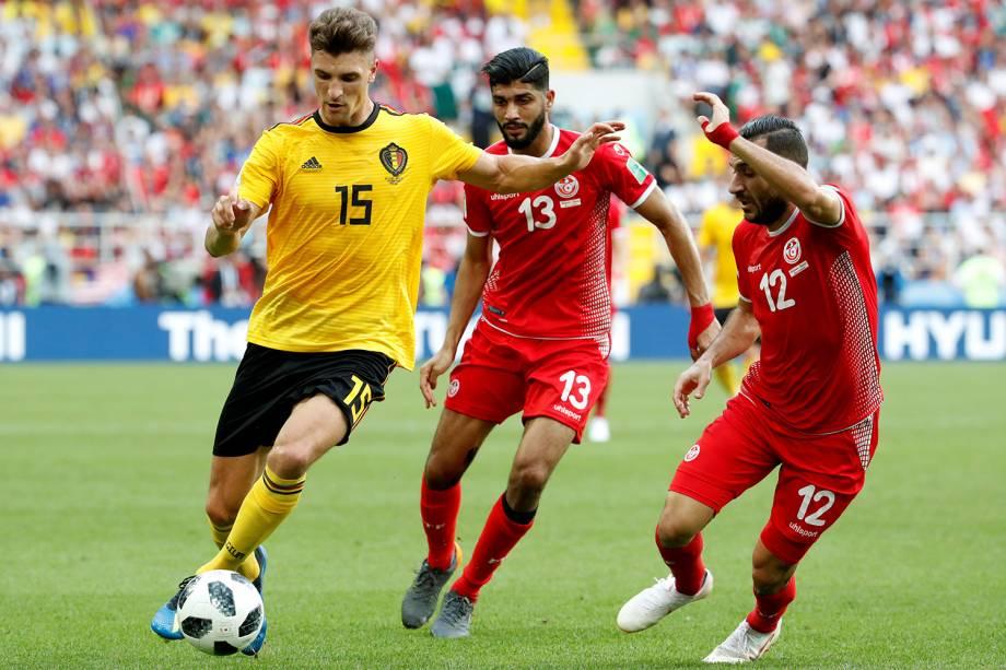 Thomas Meunier da Bélgica durante jogada em partida contra a Tunísia - 23/06/2018
