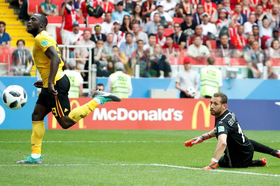 Romelu Lukaku da Bélgica marca terceiro gol da partida contra a Tunísia - 23/06/2018