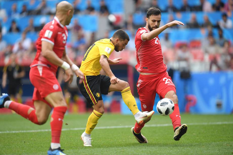 Eden Hazard da Bélgica faz quarto gol na partida contra a Tunísia - 23/06/2018