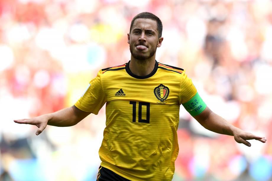 Eden Hazard da Bélgica comemora seu segundo gol durante partida contra a Tunísia - 23/06/2018