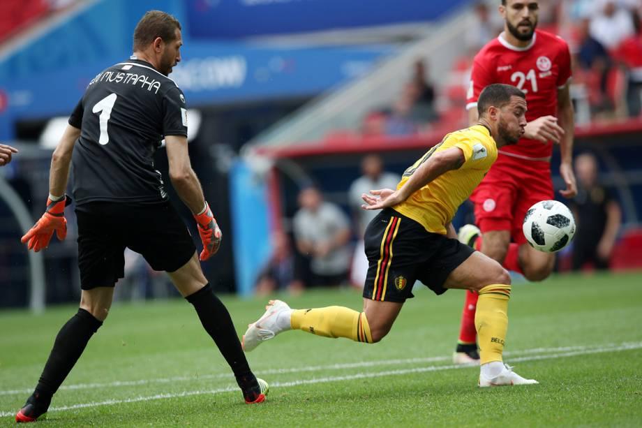 Eden Hazarda da Bélgica marca seu segundo gol durante partida contra a Tunísia - 23/06/2018