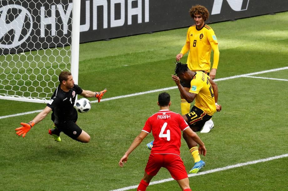 Michy Batshuayi da Bélgica perde chance de marcar durante partida contra a Tunísia - 23/06/2018