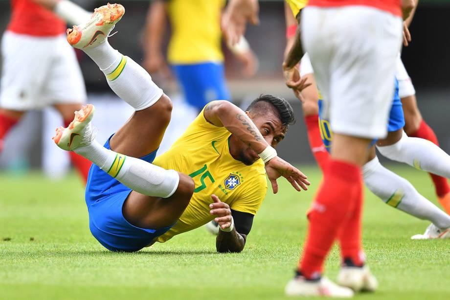 Paulinho durante partida amistosa entre Brasil e Áustria, realizada em Viena - 10/06/2018