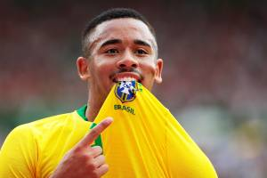 Gabriel Jesus comemora após marcar gol durante partida amistosa entre Brasil e Áustria, realizada em Viena -10/06/2018