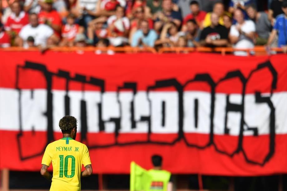 Partida amistosa entre Brasil e Áustria, realizada na cidade de Viena - 10/06/2018