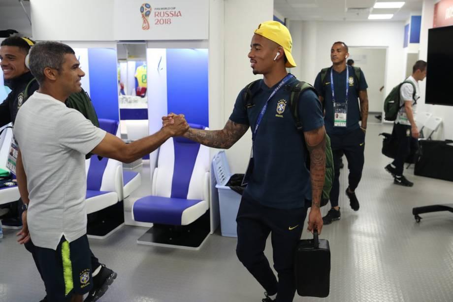 Gabriel Jesus chega ao estádio Rostov para primeira partida do Brasil na Copa do Mundo - 17/06/2018