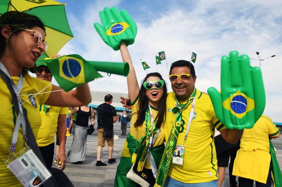 Torcedores chegam na Arena Rostov para acompanhar a partida entre Brasil e Suíça - 17/06/2018