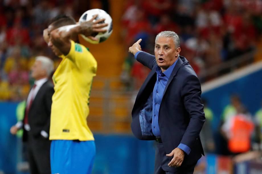 O técnico da Seleção Brasileira, Tite, durante partida entre Brasil e Suíça, válida pelo grupo E da Copa do Mundo - 17/06/2018