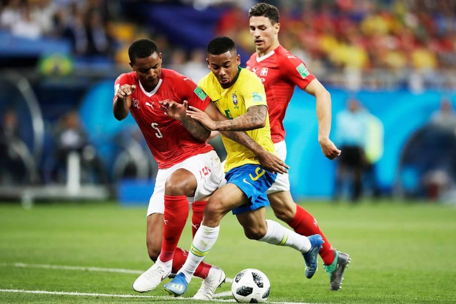 Gabriel Jesus (centro),durante a partida entre Brasil e Suíça, realizada na Arena Rostov, válida pelo grupo E da Copa do Mundo - 17/06/2018