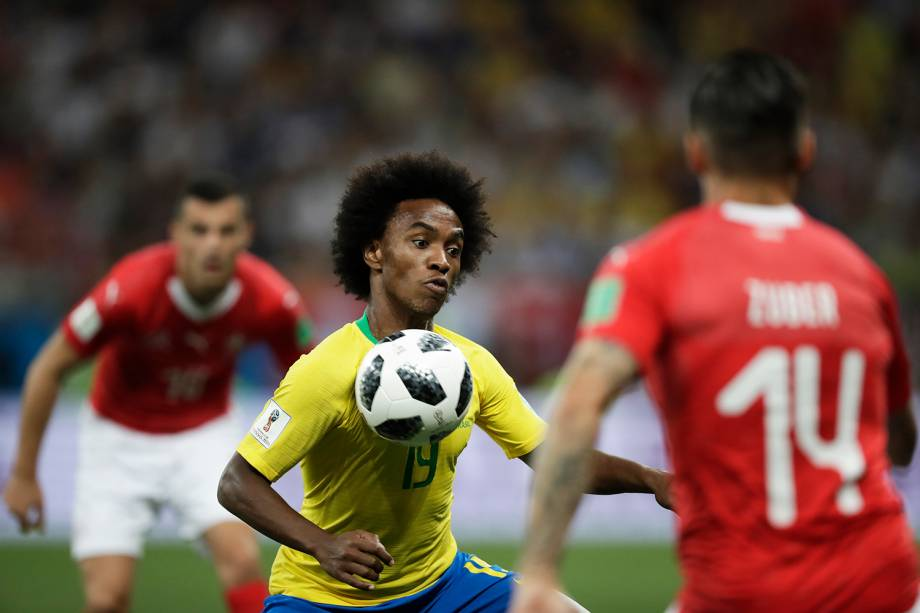 Willian durante partida entre Brasil e Suíça, válida pelo grupo E da Copa do Mundo da Rússia, realizada na Arena Rostov - 17/06/2018