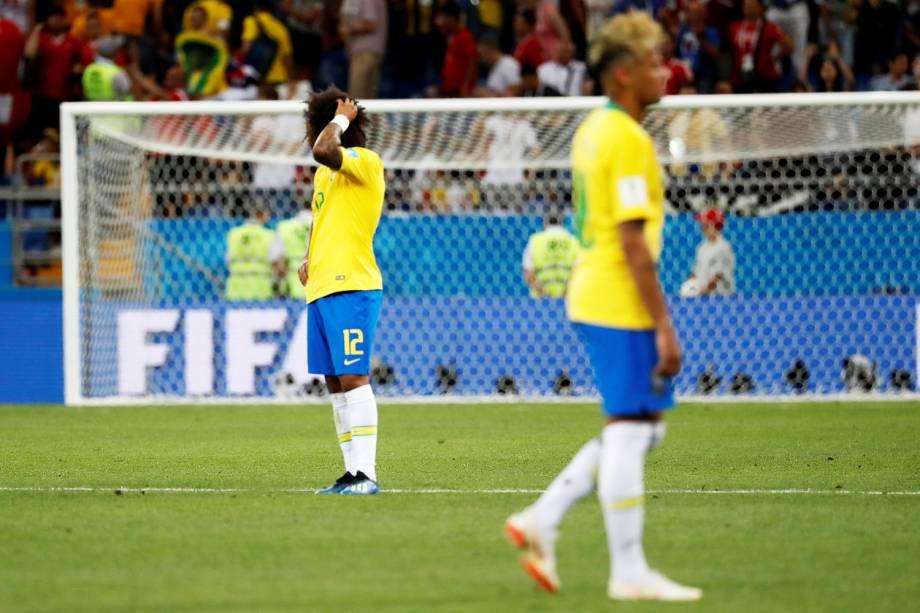 Marcelo lamenta após Seleção Brasileira empatar com a Suíça em 1 a 1, na Arena Rostov, em partida válida pela primeira rodada do grupo E da Copa do Mundo - 17/06/2018