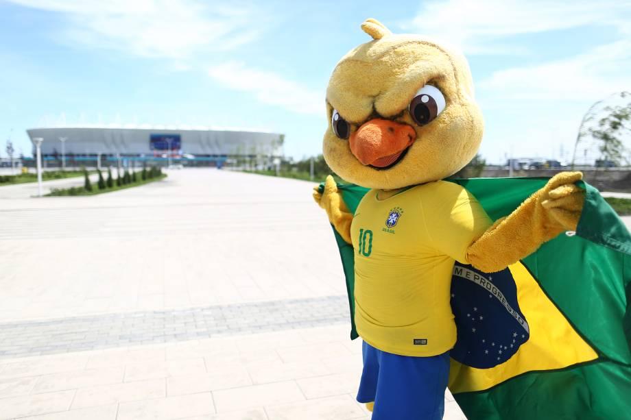Canarinho Pistola é visto próximo da Arena Rostov, antes da partida entre Brasil e Suíça - 17/06/2018