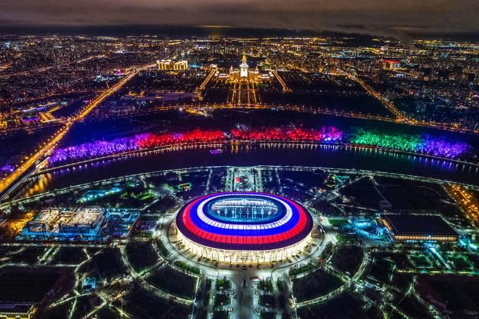Estádio Luzhniki onde acontece a Abertura da Copa 2018 em Moscou, na Rússia, ao vivo