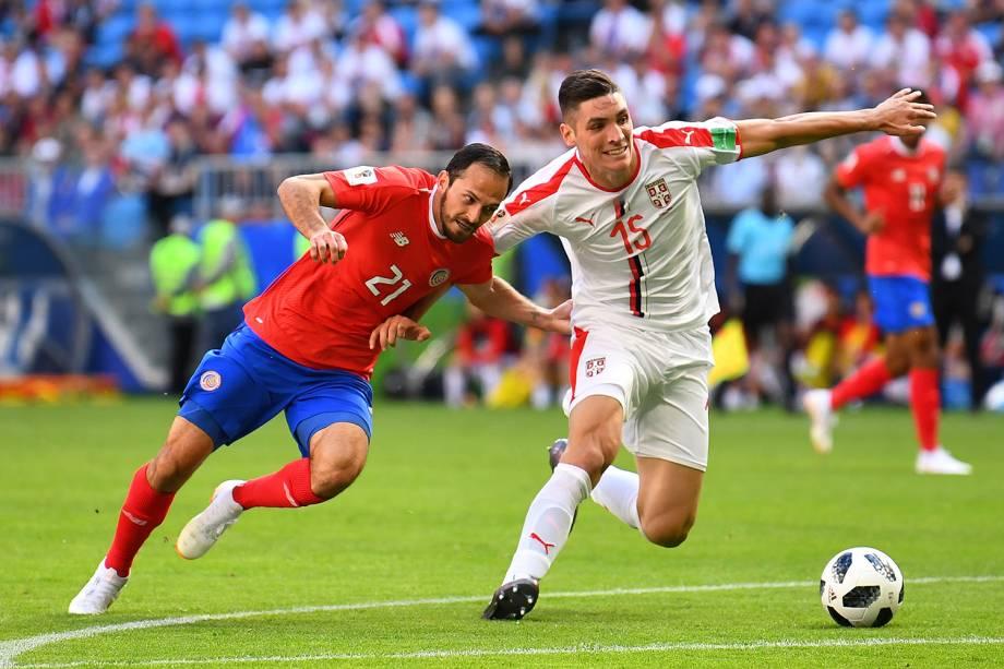Nikola Milenkovic disputa a bola com Marco Urena da Costa Rica - 17/06/2018