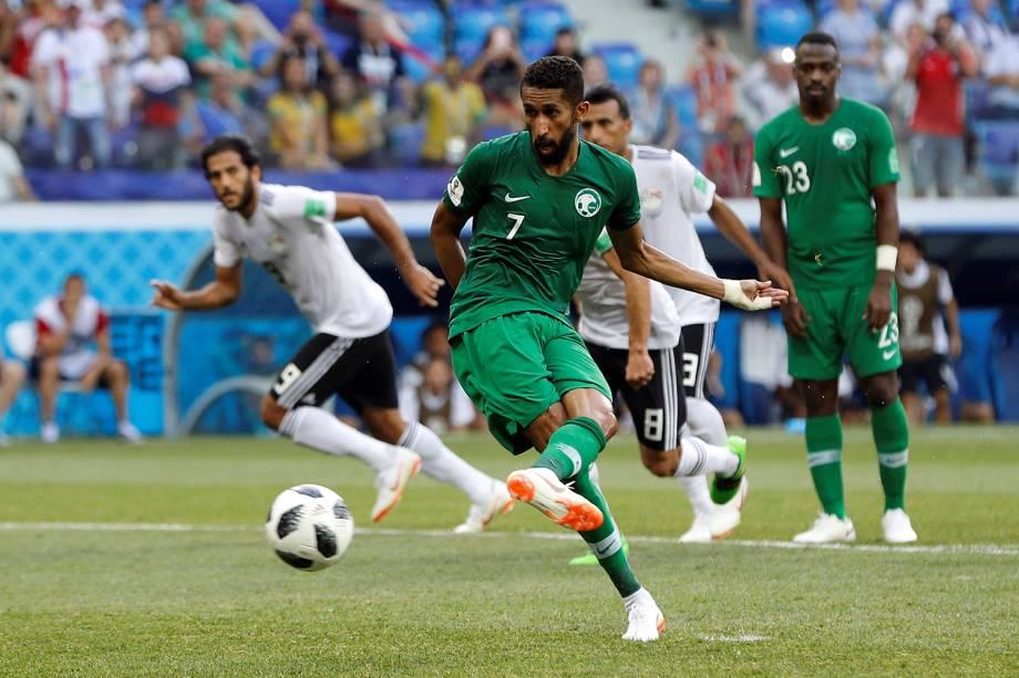 Salman Al-Faraj da Arábia Saudita marca seu primeiro gol em partida contra o Egito - 25/06/2018