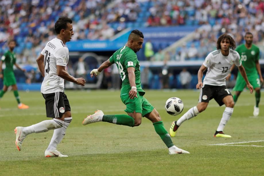 Salem Al-Dawsari da Arábia Saudita marca segundo gol na partida contra o Egito - 25/06/2018
