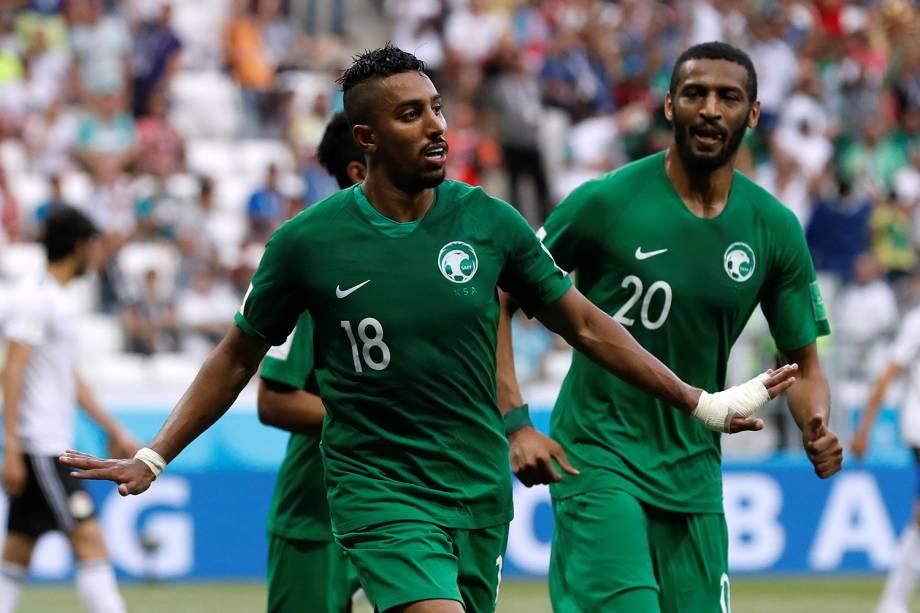 Salem Al-Dawsari comemora seu primeiro gol em partida contra o Egito - 25/06/2018