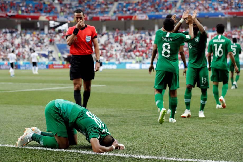 Seleção da Arábia Saudita comemoram vitória em partida contra o Egito - 25/06/2018