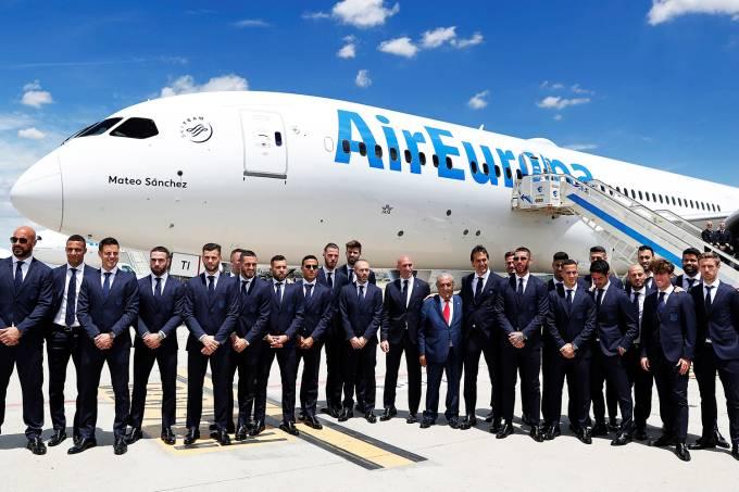 Seleção espanhola embarca para a Rússia