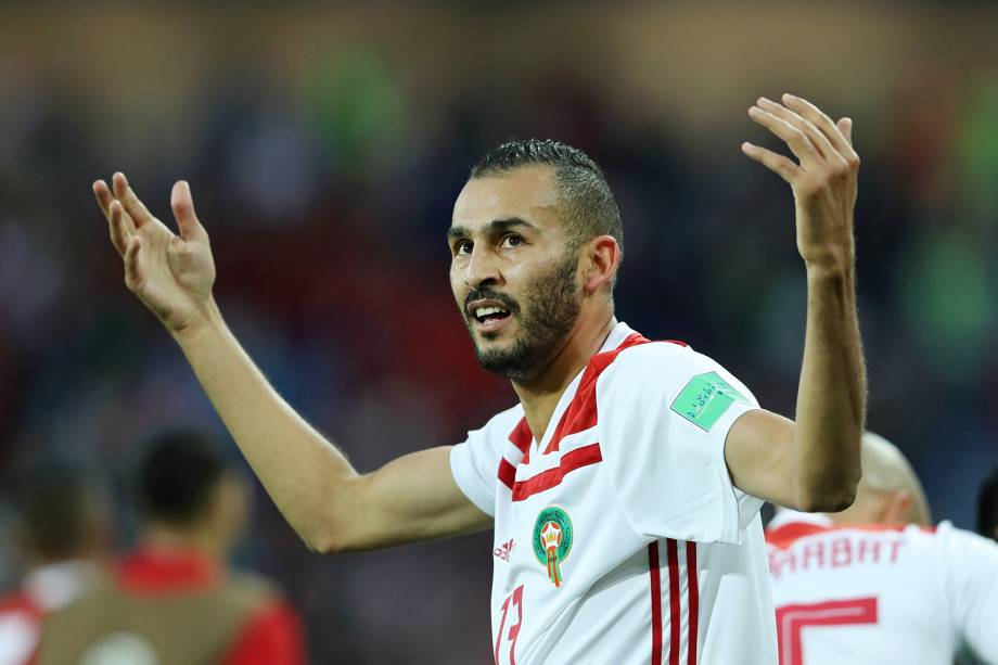 Khalid Boutaib do Marrocos comemora seu primeiro gol na partida contra a Espanha - 25/06/2018